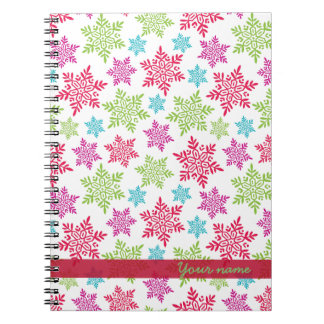 Nice Christmas red, green, pink, blue snowflakes Spiral Notebook