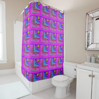Nice cozy purple with blue shades patter design shower curtain