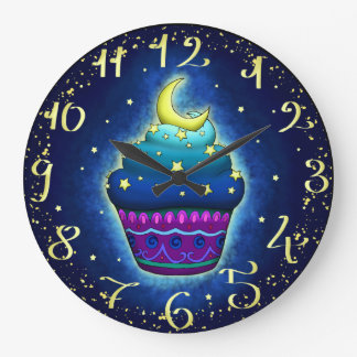 Nice Cupake with moon and stars Large Clock