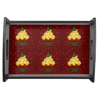 Nice Cupcake with Christmas tree Serving Tray