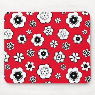 Nice daisies, flowers, with red background. Girly Mouse Pad