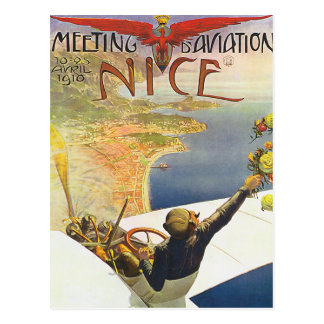 Nice France Aviation Poster Art Postcard