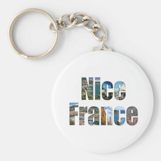 Nice, France tourist attractions in letters Basic Round Button Key Ring