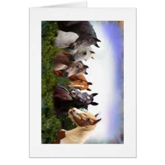 nice friendly horses greeting card