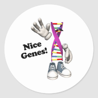 Nice Genes Funny DNA Strip Character Round Sticker