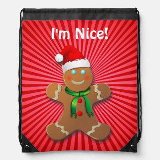 Nice Gingerbread Man with Santa Hat Drawstring Backpacks