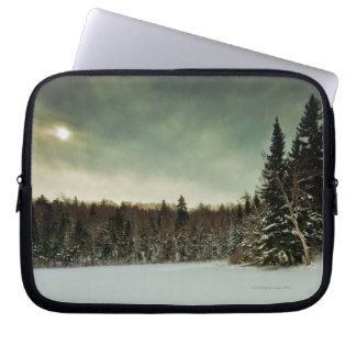 Nice hike over frozen lake in state of Vermont Laptop Sleeve