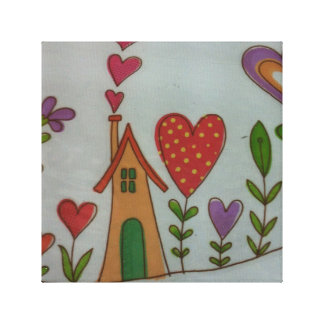 nice house and hearts  juvenile canvas canvas print
