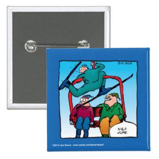Nice Jump Cartoon Skiers 15 Cm Square Badge