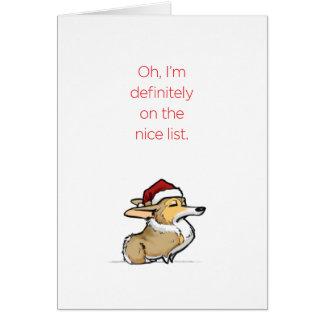 Nice List - Haughty Christmas Corgi Card