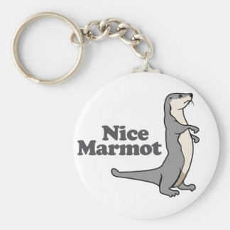 Nice Marmot ferret Basic Round Button Key Ring
