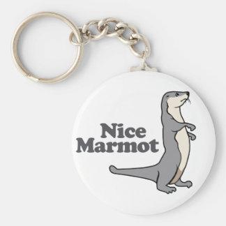 Nice Marmot ferret Basic Round Button Key Ring