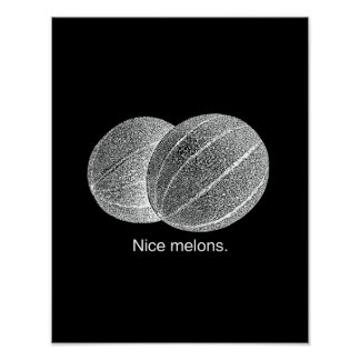 NICE MELONS - WHITE - png Posters
