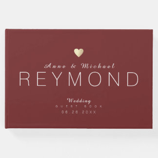 nice modern bordeaux red wedding guest book