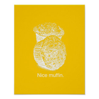 NICE MUFFIN - WHITE - png Posters