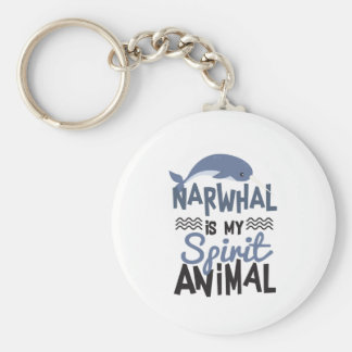 Nice Narwhal Is My Spirit Animal Print Key Ring