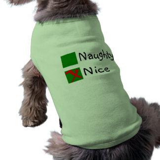 Nice Not Naughty Christmas Sleeveless Dog Shirt