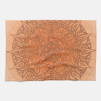 Nice Oriental Orange Design Tea Towel