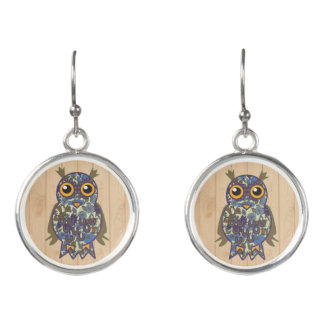 Nice owl modern sketch drawing design earrings