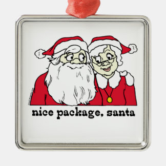Nice Package Santa Claus Silver-Colored Square Decoration