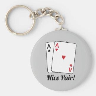 Nice Pair Basic Round Button Key Ring