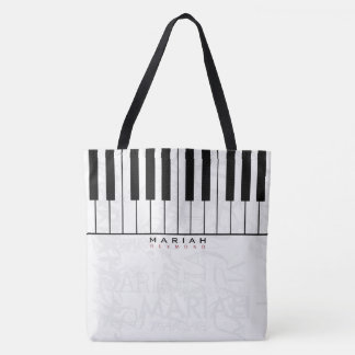 nice & personalized piano music tote bag