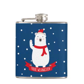 """Nice polar bear """"glad Christmas"""" German Flask"""