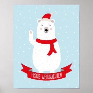 """Nice polar bear """"glad Christmas"""" German Poster"""