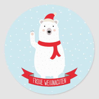"Nice polar bear ""glad Christmas"" German Round Sticker"