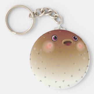 Nice puffer fish basic round button key ring