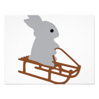 nice rabbit with toboggan icon custom invitations