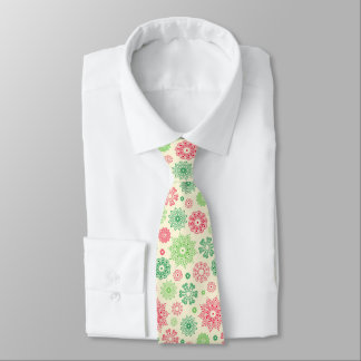 Nice Red Green snowflakes on white Tie