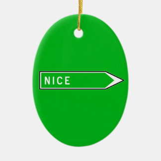 Nice, Road Sign, France Ceramic Oval Decoration