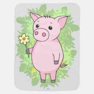 Nice Schweinchen with flower Baby Blanket