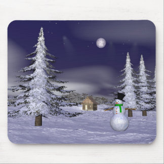 Nice snowman in the night mouse mat