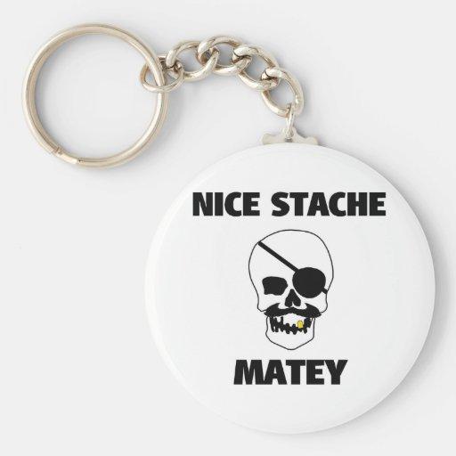 Nice Stache Matey Pirate Skull Key Chain