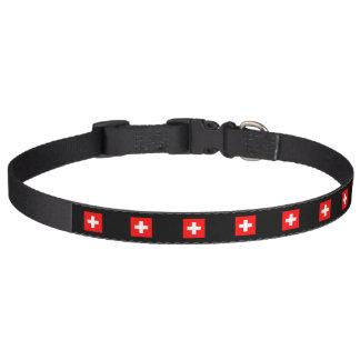Nice Switzerland flag black Pet Collar