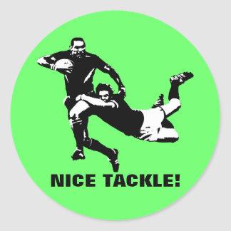 Nice tackle,Rugby Round Sticker