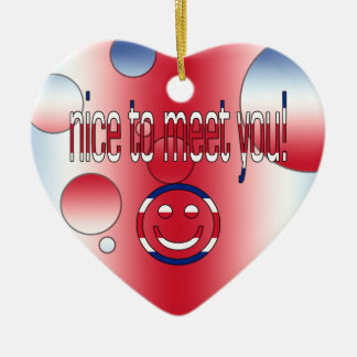 Nice to Meet You Britain Flag Colors Pop Art Christmas Tree Ornaments