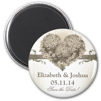 nice vintage blossoms heart save the date magnets