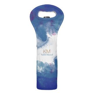 nice watercolor, monogrammed blue wine bag