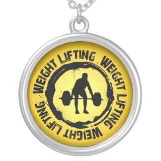 Nice Weight Lifting Seal Silver Plated Necklace