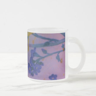 Nice Yellow and blue flower Frosted Glass Mug