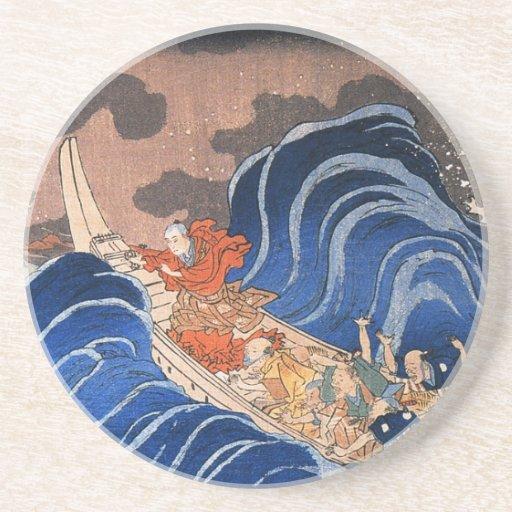 Nichiren calms a storm in Kakuda, Kuniyoshi Beverage Coasters