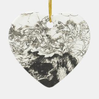 Nichiren saved from the executioners sword Utagawa Ceramic Heart Decoration