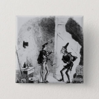 Nicholas instructs Smike in the art of acting 15 Cm Square Badge