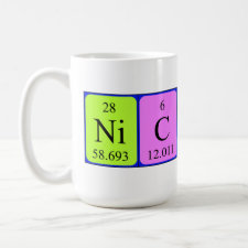 Mug featuring the name Nicholas spelled out in symbols of the chemical elements