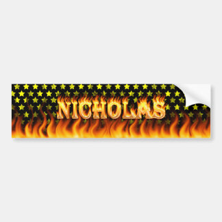 Nicholas real fire and flames bumper sticker desig