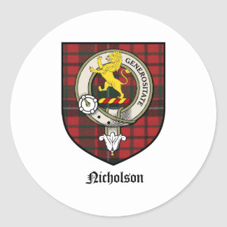Nicholson Clan Crest Badge Tartan Classic Round Sticker