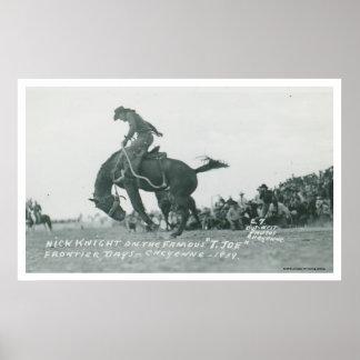 Nick Knight riding T. Joe at Cheyenne Frotier Days Poster